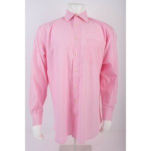 Peter Millar Mens Button Shirt L Cotton Pink White